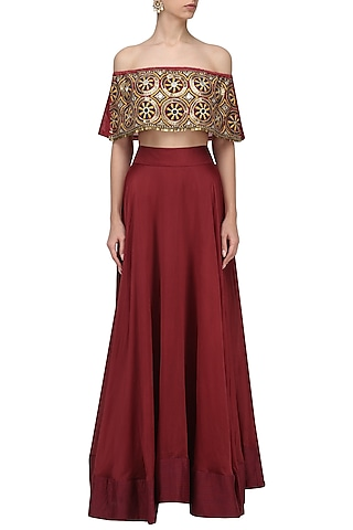 Red Embroidered Off Shoulder Top and Skirt Set by Roshni Chopra