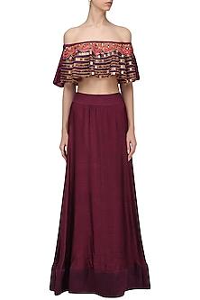 Burgundy Embroidered Off Shoulder Top and Skirt Set by Roshni Chopra