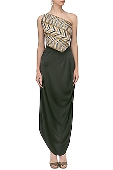 Black Embroidered One Shoulder Top and Draped Skirt Set by Roshni Chopra