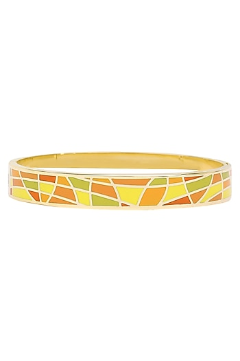 Gold plated orange, green and yellow geometric openable bracelets by Rosa Damascena by Shreya Jindal