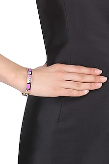 Gold plated purple, grey and blue geometric openable bracelets by Rosa Damascena by Shreya Jindal