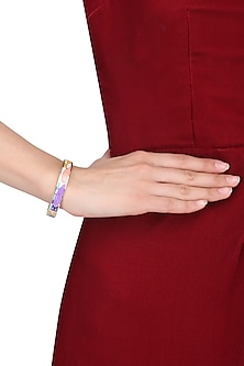 Gold plated yellow, pink, purple geometric openable bracelets by Rosa Damascena by Shreya Jindal