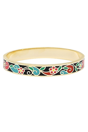 Gold plated floral and fauna openable bracelets by Rosa Damascena by Shreya Jindal