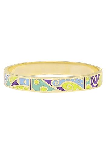 Gold plated galaxy design openable bracelets by Rosa Damascena by Shreya Jindal