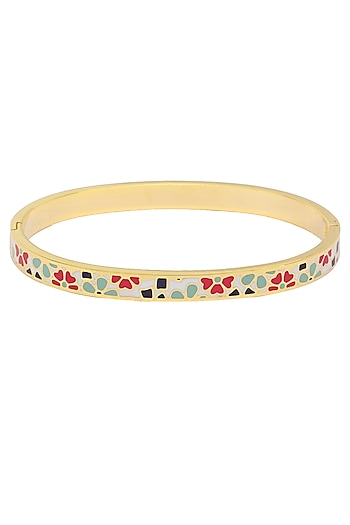 Gold plated blue, white and red modern art bangle by Rosa Damascena by Shreya Jindal