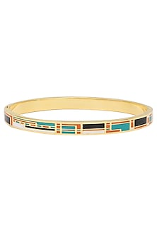 Gold plated blue, orange and black narrow openable bracelet by Rosa Damascena by Shreya Jindal