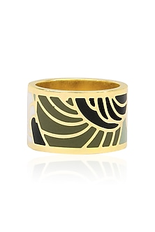 Gold plated black, grey and white egyptian avatar broad ring by Rosa Damascena by Shreya Jindal