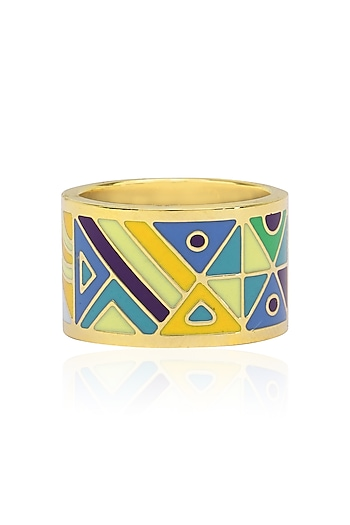 Gold plated blue, purple and green egyptian avatar broad ring by Rosa Damascena by Shreya Jindal