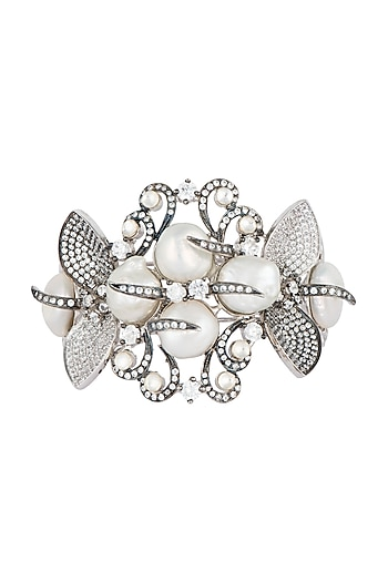 Silver plated pearl cuff bracelet by Rohita and Deepa