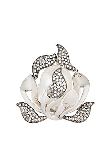 Silver plated pearl leaf ring by Rohita and Deepa