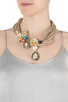 Gold plated peacock kundan necklace by Rohita and Deepa