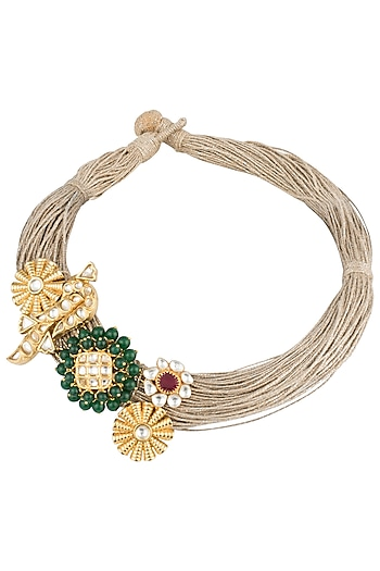 Gold plated green onyx and kundan necklace by Rohita and Deepa
