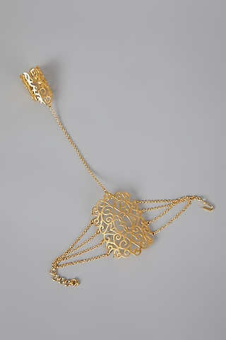 Gold Finish Hand Harness by Rohita And Deepa