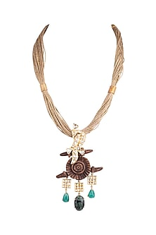 Gold Plated Kundan & Crystal Necklace by Rohita And Deepa