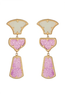 Gold Plated Jade Dangler Earrings by Rohita And Deepa