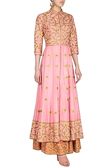 Pink Embroidered Lehenga Skirt With Jacket by Roora by Ritam
