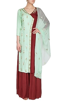 Sea Green & Maroon Embroidered Sharara Set by Roora by Ritam