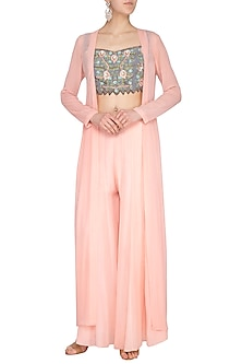 Peach Embroidered Crop Top With Jacket & Pants by Roora by Ritam