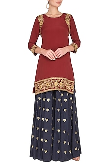 Maroon Embroidered Kurta With Sharara Pants by Roora by Ritam