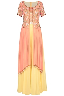 Coral & Yellow Embroidered Kurta With Pants by Roora by Ritam