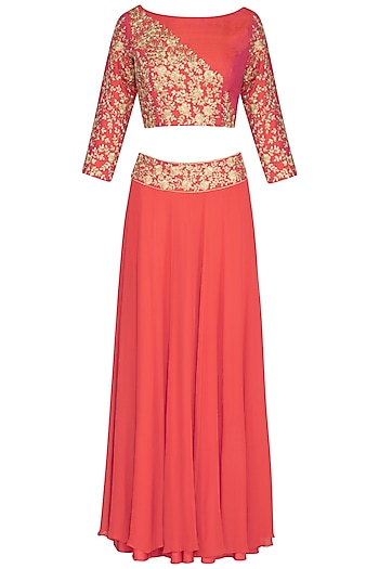 Coral Embroidered Lehenga Set by Roora by Ritam