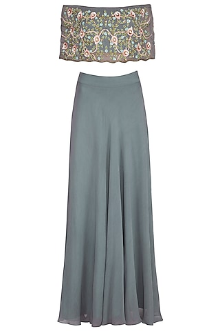 Grey Embroidered Off Shoulder Cape Top With Skirt by Roora by Ritam