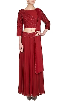 Red Embroidered Lehenga Set by Roora by Ritam