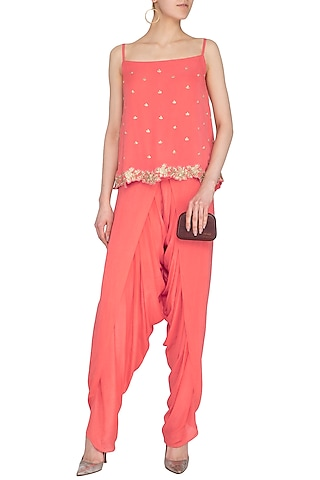 Coral Embellished Top With Overlap Dhoti Pants by Roora by Ritam