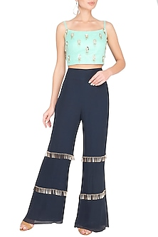 Sea Green Embellished Crop Top With Pants by Roora by Ritam