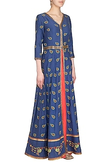 Royal Blue & Pink Embroidered Lehenga Skirt with Jacket by Roora by Ritam