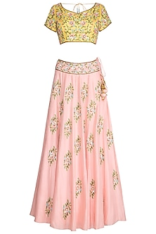 Peach & Yellow Embroidered Lehenga Set by Roora by Ritam