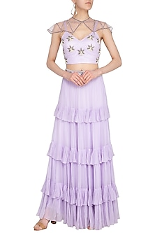 Lilac Embellished Bralette Top With Skirt by Roora by Ritam
