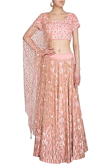 Pink Embroidered Lehenga Set by Roora by Ritam