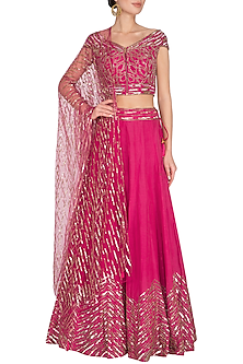 Bright Pink Embroidered Lehenga Set by Roora by Ritam