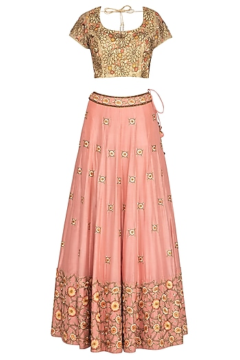 Peach & Golden Embroidered Lehenga Set by Roora by Ritam