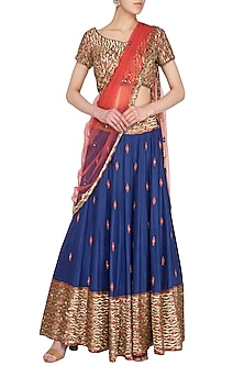 Royal Blue & Coral Pink Embroidered Lehenga Set by Roora by Ritam