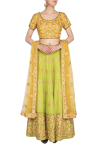 Lime & Green Embroidered Lehenga Set by Roora by Ritam