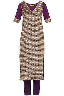 Burgundy Purple Embroidered Kurta Set by Roora by Ritam