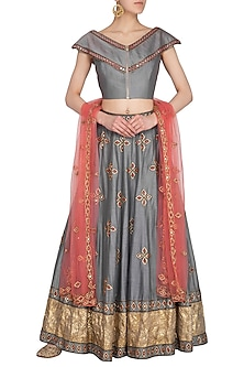 Grey Embroidered Lehenga Set by Roora by Ritam