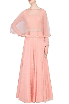 Peach Pearl and Bead Work Gown with Scalloped Cape by Roora by Ritam