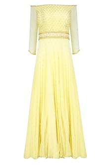 Soft Lemon Pearl and Bead Work Anarkali Set by Roora by Ritam