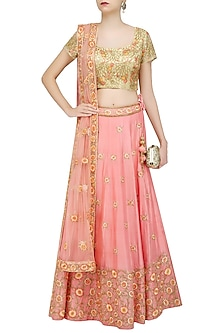 Peach Floral Thread and Bead Embroidered Lehenga Set by Roora by Ritam