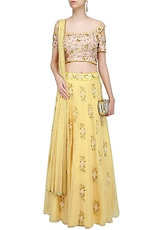 Lemon Yellow 3D Floral Applique Work Lehenga Set by Roora by Ritam