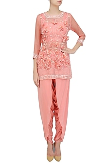 Peach 3D Floral Applique Work Short Kurta and Dhoti Pants Set by Roora by Ritam