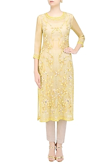 Soft Yellow 3D Floral Applique Work Straight Kurta and Beige Pants Set by Roora by Ritam