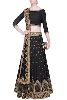 Black Mirror and Beads Embroidered Lehenga Set by Roora by Ritam