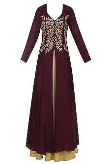 Dark Plum Mirror and Cutdana Work Long Jacket and Gold Skirt Set by Roora by Ritam