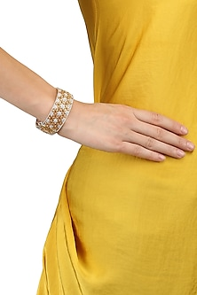Micro Gold Plated Flower Jaal Bangle by Rose Jewellery Collection