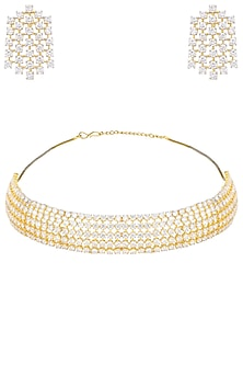 Gold Plated American Diamond Necklace Set by Rose Jewellery Collection