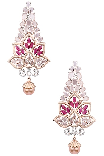 Silver Plated Red Stones and Pearl Earrings by Rose Jewellery Collection